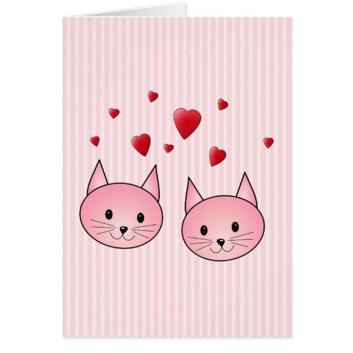 Chats roses mignons, avec les coeurs rouges d'amou cartes de vœux