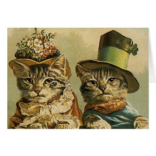 Chats victoriens vintages dans des chapeaux, humou carte de vœux
