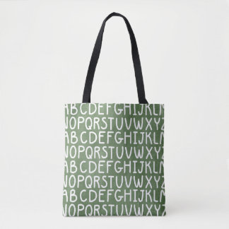 Chaulkoard alphabet print all over tote bag