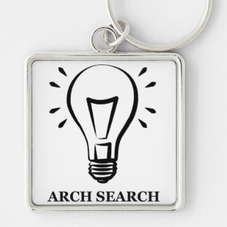 Chaveiro 5,1cm Arch Search Silver-Colored Square Keychain