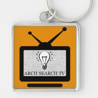 Chaveiro 5,1cm Arch Search TV Silver-Colored Square Keychain