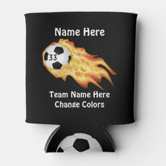 Cheap Flaming Soccer Team Gifts PERSONALIZED Can Cooler