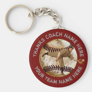 Cheap Vintage look Baseball Team Gifts PERSONALIZE Basic Round Button Keychain