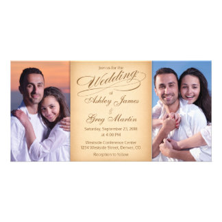 Cheap Vintage Photo Collage Wedding Invitation