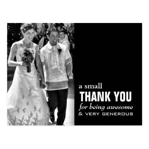 Wedding Thank You Postcards: Cheap Wedding Thank You Card - Photo Funny! Postcard