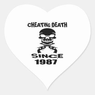 Cheating Death Since 1987 Birthday Designs Heart Sticker