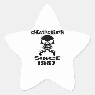 Cheating Death Since 1987 Birthday Designs Star Sticker