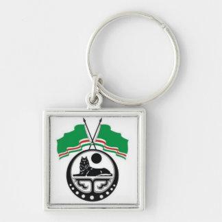 Chechnya Silver-Colored Square Keychain