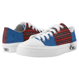 Check Denim Low-Top Sneakers