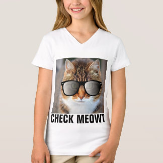 CHECK MEOWT CAT with Sunglasses, Girls Kids T-Shirt