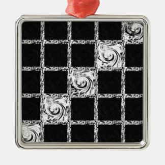 check pattern Silver-Colored square ornament