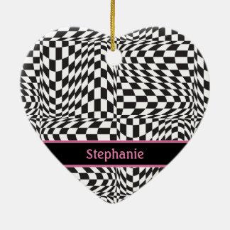 Check Twist Ceramic Heart Ornament