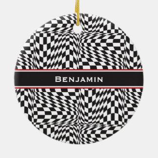 Check Twist Round Ceramic Ornament