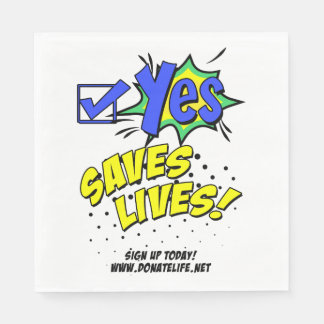 Check Yes to Save Lives, Donor Awareness Paper Napkins