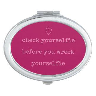 Check Yourselfie Cute Pink Heart Selfie Makeup Mirror