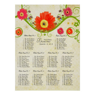 Checked Gerber Daisy Seating Chart 10 Tables