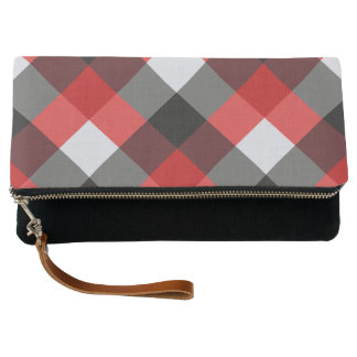 Checked Red Buffalo Plaid Print Pattern Clutch