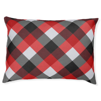 Checked Red Buffalo Plaid Print Pattern Large Dog Bed