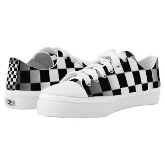 Checker Board Black & Gray Pattern Low-Top Sneakers