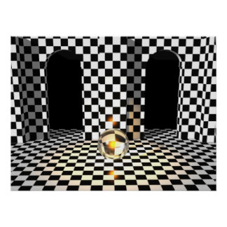 Checker Board Marble Poster