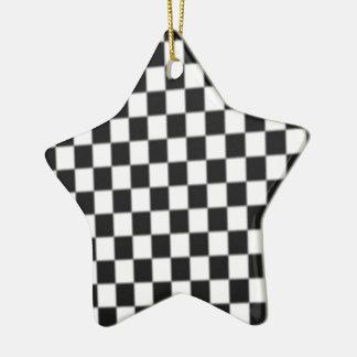 Checker Board Race Flag Design Ceramic Ornament