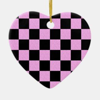 Checker Ceramic Heart Ornament