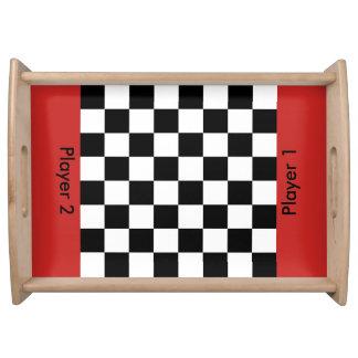 Checker Chess Board Serving Tray