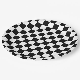 Checker  Flag 9 Inch Paper Plate