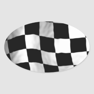 Checker Flag Oval Stickers