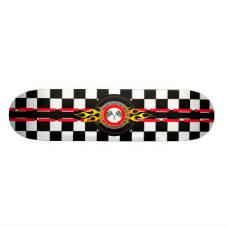 Checker Stripe Flames Skateboard