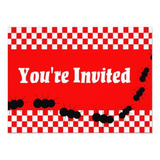 """Checkerboard Ants 5.5"""" X 7.5"""" Invitation Card"""