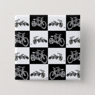 checkerboard bicycles 2 inch square button