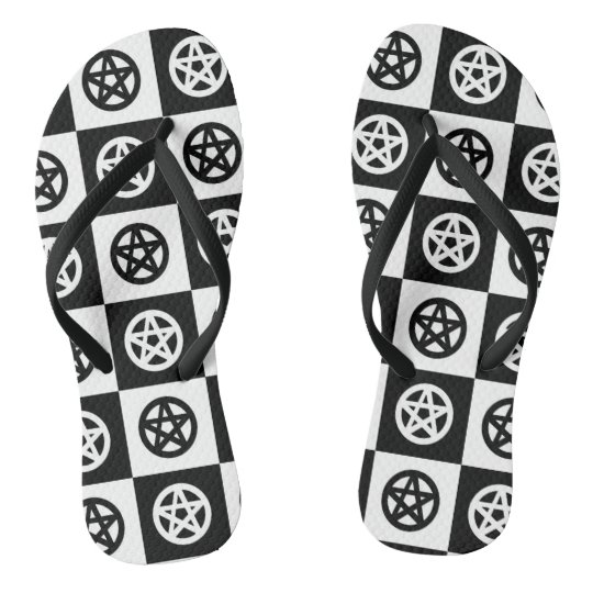 Checkerboard Black and White Pentacle Flip Flops