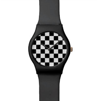 CHECKERBOARD BLACK AND WHITE WATCH