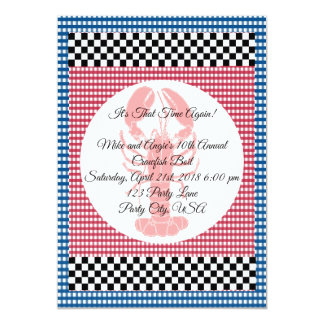 Checkerboard Blue and Red Gingham Crawfish Boil Card