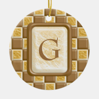 Checkerboard - Chocolate Marshmallow Round Ceramic Ornament