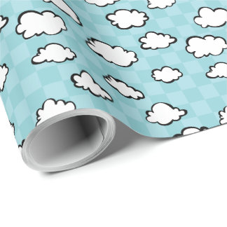 Checkerboard Clouds Wrapping Paper