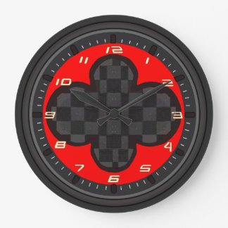 Checkerboard Clover Wall Clocks