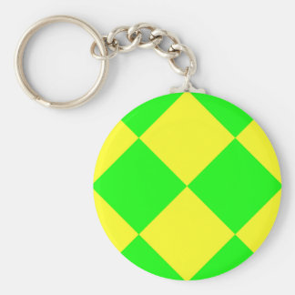 CHECKERBOARD GREEN! ~ BASIC ROUND BUTTON KEYCHAIN