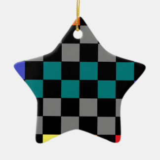 Checkerboard Grey Rainbow Turquoise Blue-Green 2 Ornaments