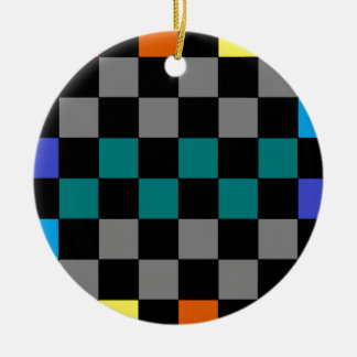 Checkerboard Grey Rainbow Turquoise Blue-Green 2 Christmas Ornament