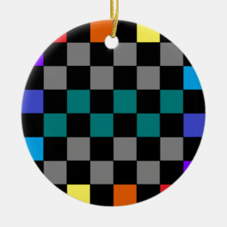 Checkerboard Grey Rainbow Turquoise Blue-Green Ornaments