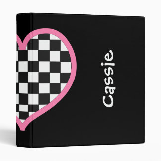 Checkerboard Heart Personalized Back to School Vinyl Binder