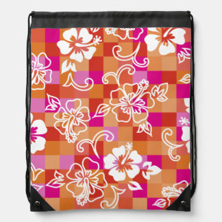 Checkerboard Hibiscus Hawaiian Backpack