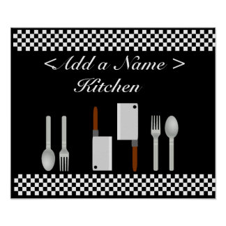 Checkerboard Kitchen Poster Print