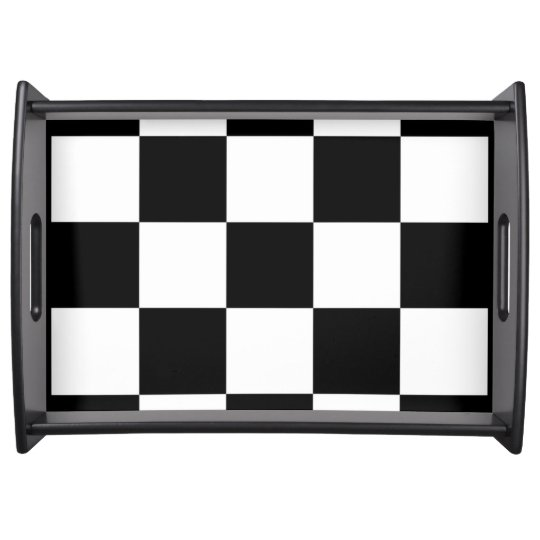 CHECKERBOARD LARGE BLACK SERVING TRAY