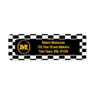 Checkerboard Monogrammed Return Address Labels