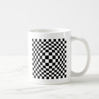 Checkerboard optical illusion coffee mug
