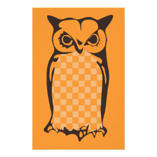 Checkerboard Owl Fall Stationery-Pumpkin Stationery
