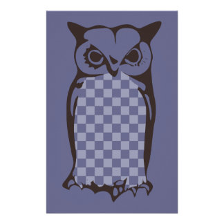 Checkerboard Owl Stationery Paper-Periwinkle